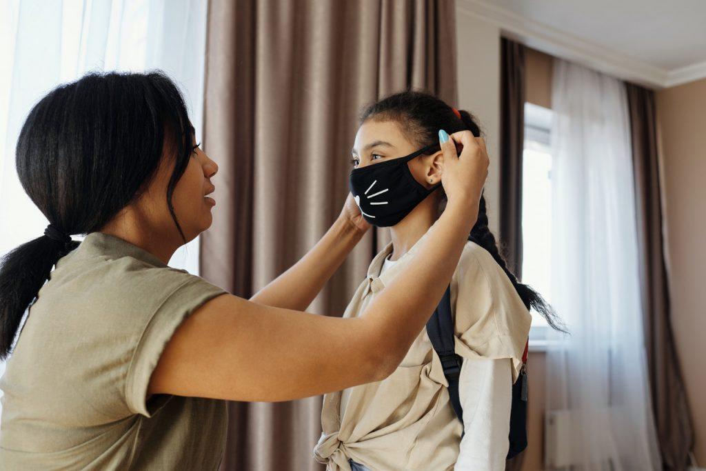 mom and daughter face mask hearing loss