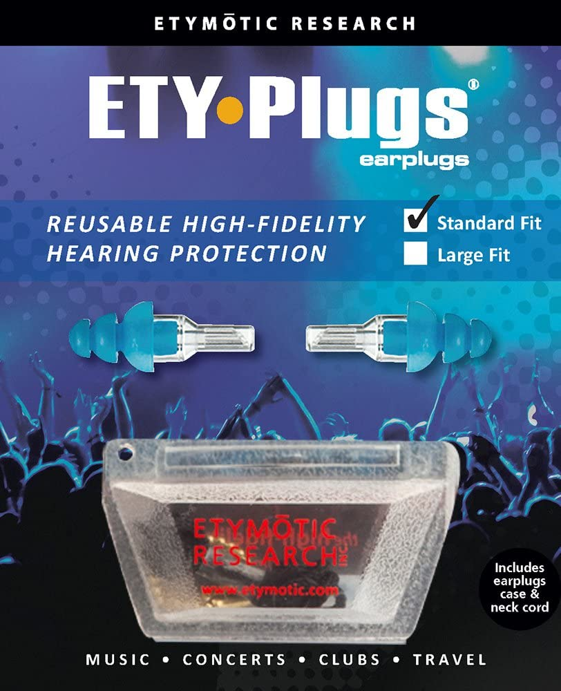 Etymotic Research ER20 High-Fidelity Earplugs (Concerts, Musicians, Airplanes, Motorcycles, Sensitivity and Universal Hearing Protection) - Standard, Clear Stem w/ Blue Tip