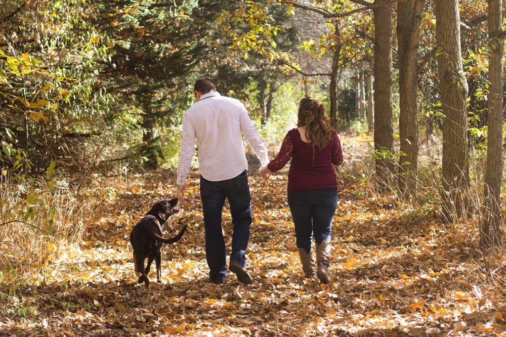 family walking in fall natural sound open fit hearing aids