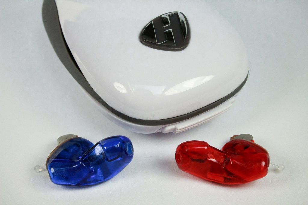 Red & Blue IIC Hearing Aid